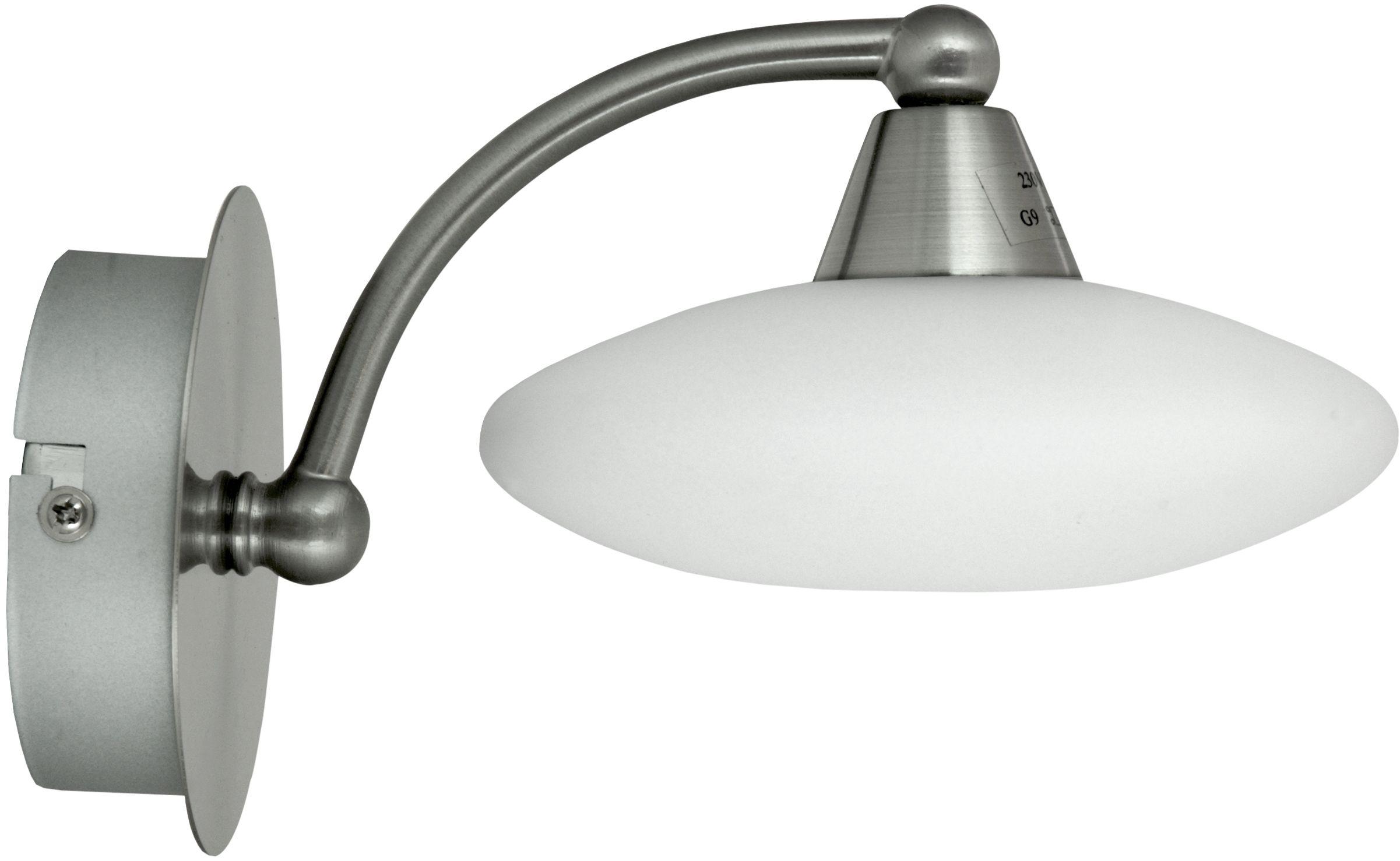 Candellux ELISA 21-05857 kinkiet lampa ścienna szklany klosz biały 1X40 G9 satyna nikiel 13,5 cm