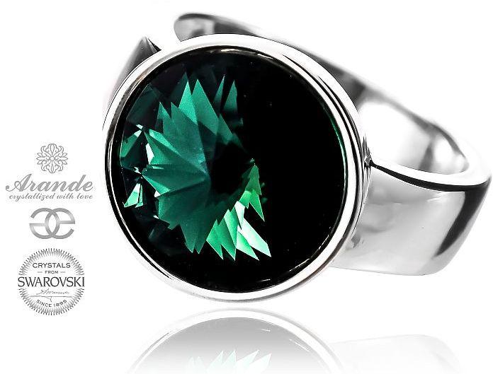 SWAROVSKI piękny pierścionek zielony PARIS EMERALD SREBRO