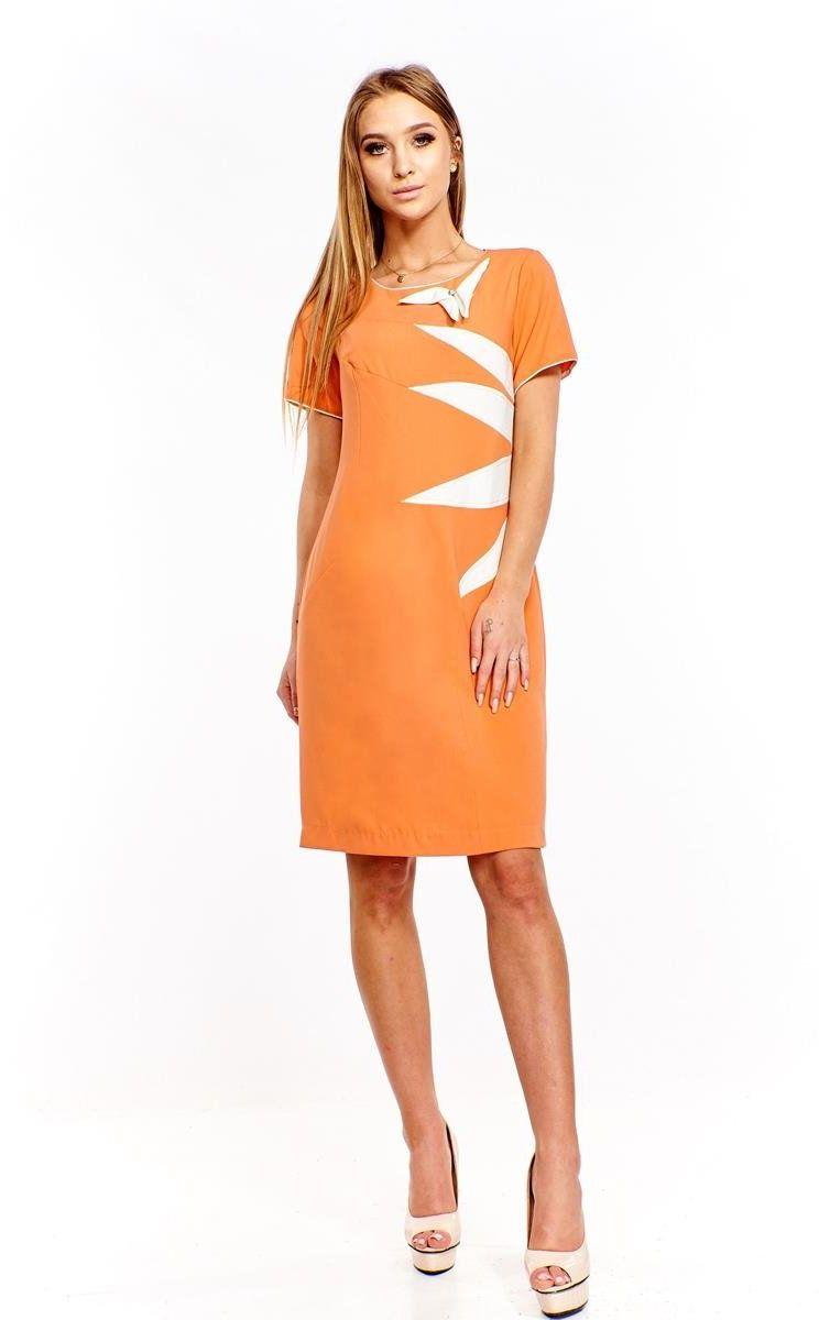 Sukienka FSU258 POMARAŃCZOWY EKRI