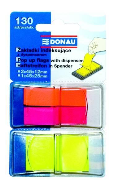 Zakładki indeksujące 45 X 12 mm + 45 X 25 mm 2 X 40 + 1 X 50 kartek z dyspenserem DONAU - X01676