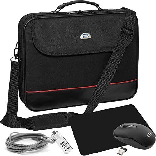 """PEDEA torba na laptopa""""Trendline"""" torba na notebooka zestaw startowy do 13,3 cala (33,8 cm) z bezprzewodową myszą, podkładką pod mysz i zamkiem notebooka, czarna"""