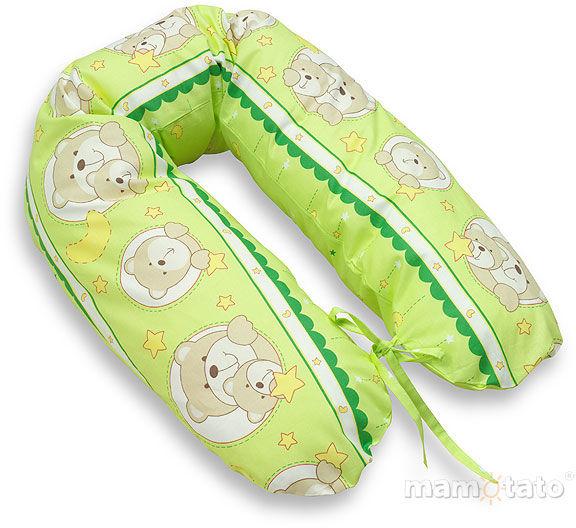 MAMO-TATO Poduszka dla kobiet w ciąży Misie w kółeczkach zielone