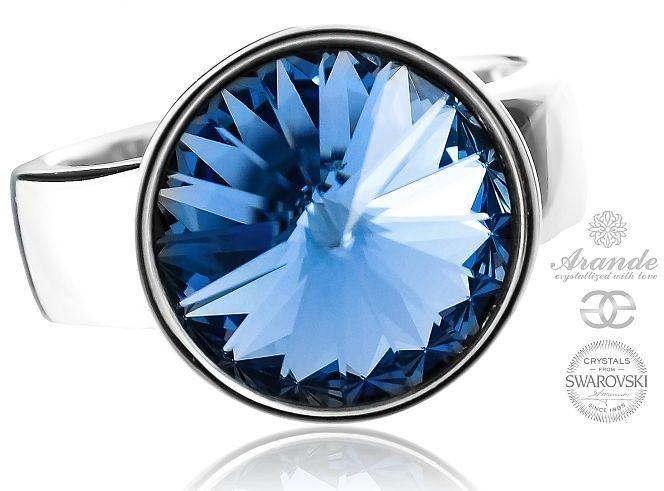 SWAROVSKI piękny pierścionek szafirowy PARIS LIGHT SAPPHIRE SREBRO