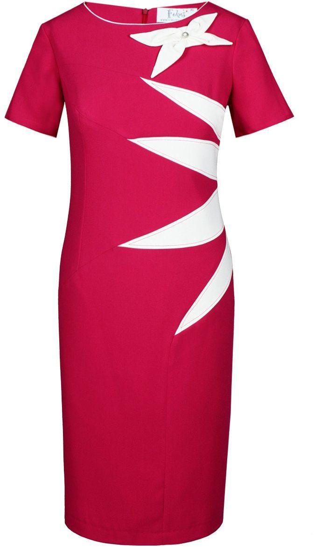 Sukienka FSU258 AMARANT ŚREDNI EKRI