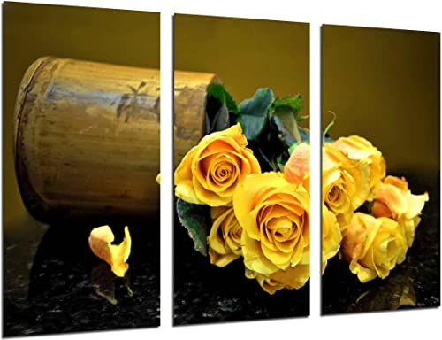 Obraz ścienny - Kwiatowe winobranie - żółte róże, 97 x 62 cm, druk drewniany - format XXL - druk artystyczny, ref.26367
