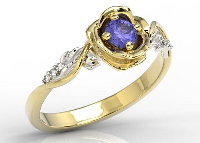 Pierścionek złoty w kształcie róży z tanzanitem i brylantami lp-7730zb