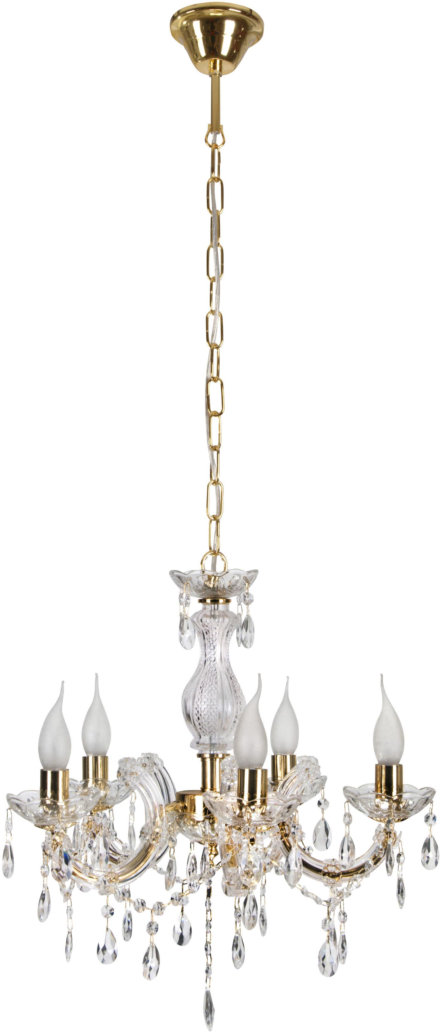 Candellux MARIA TERESA 35-94646 żyrandol kryształy 5X40W E14 złoty 48cm