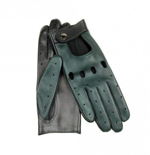Zielone skórzane rękawiczki samochodowe, całuski