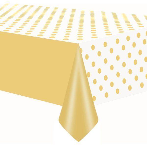 Obrus foliowy złoty w kropki 137x274cm 510249