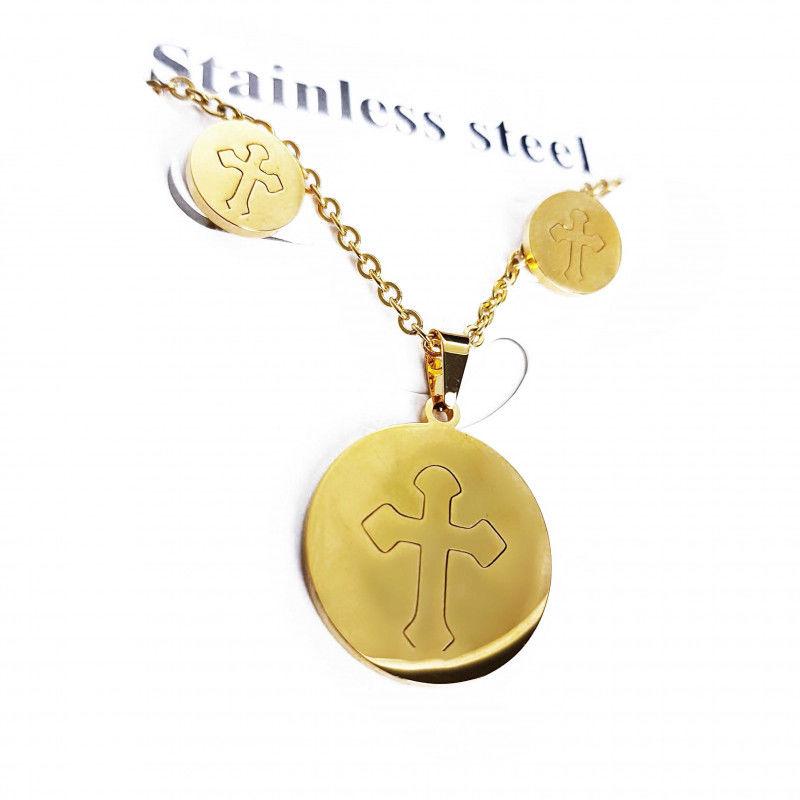Komplet naszyjnik + kolczyki stal nierdzewna złoty krzyż Beauty Senses BS001494