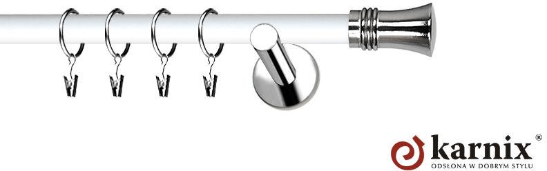 Karnisze Nowoczesne NEO Prestige pojedynczy 19mm Capri INOX - biały