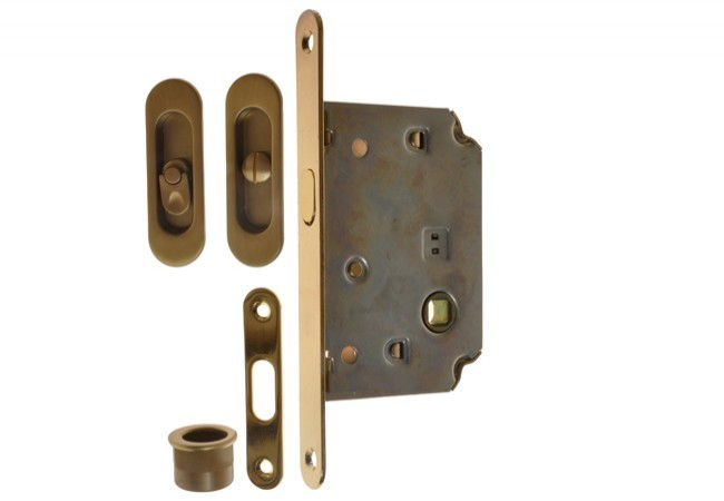 Zamek do drzwi przesuwnych + uchwyty podł. z WC złoty matowy (szczotkowany)