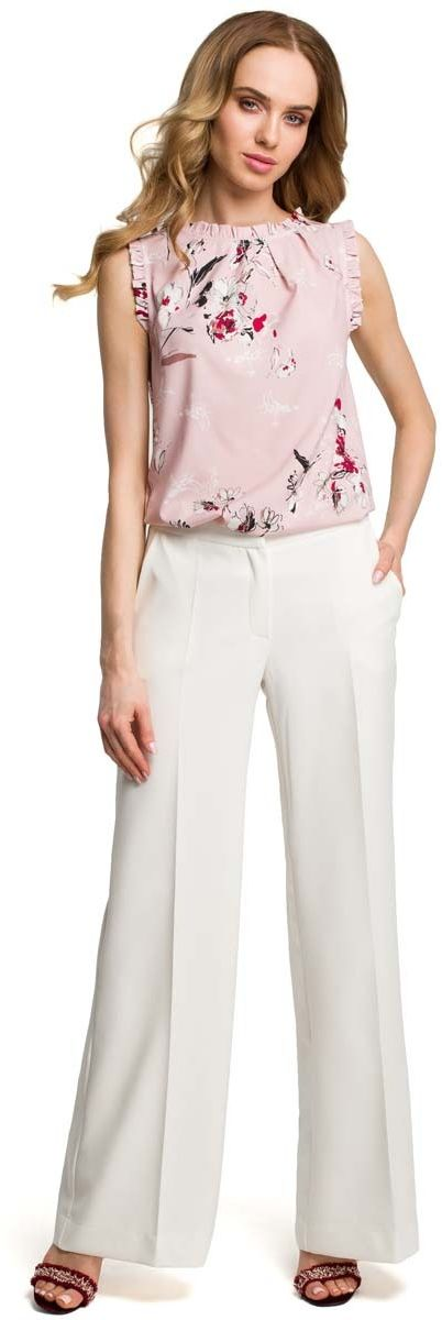 Eleganckie szerokie ecru spodnie w kant