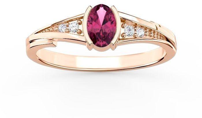 Pierścionek ze złota z rubinem i diamentami jp-2705p-r