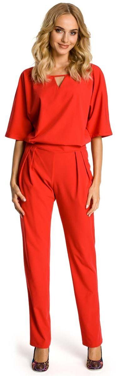 Czerwony kombinezon elegancki z krótkim rękawem
