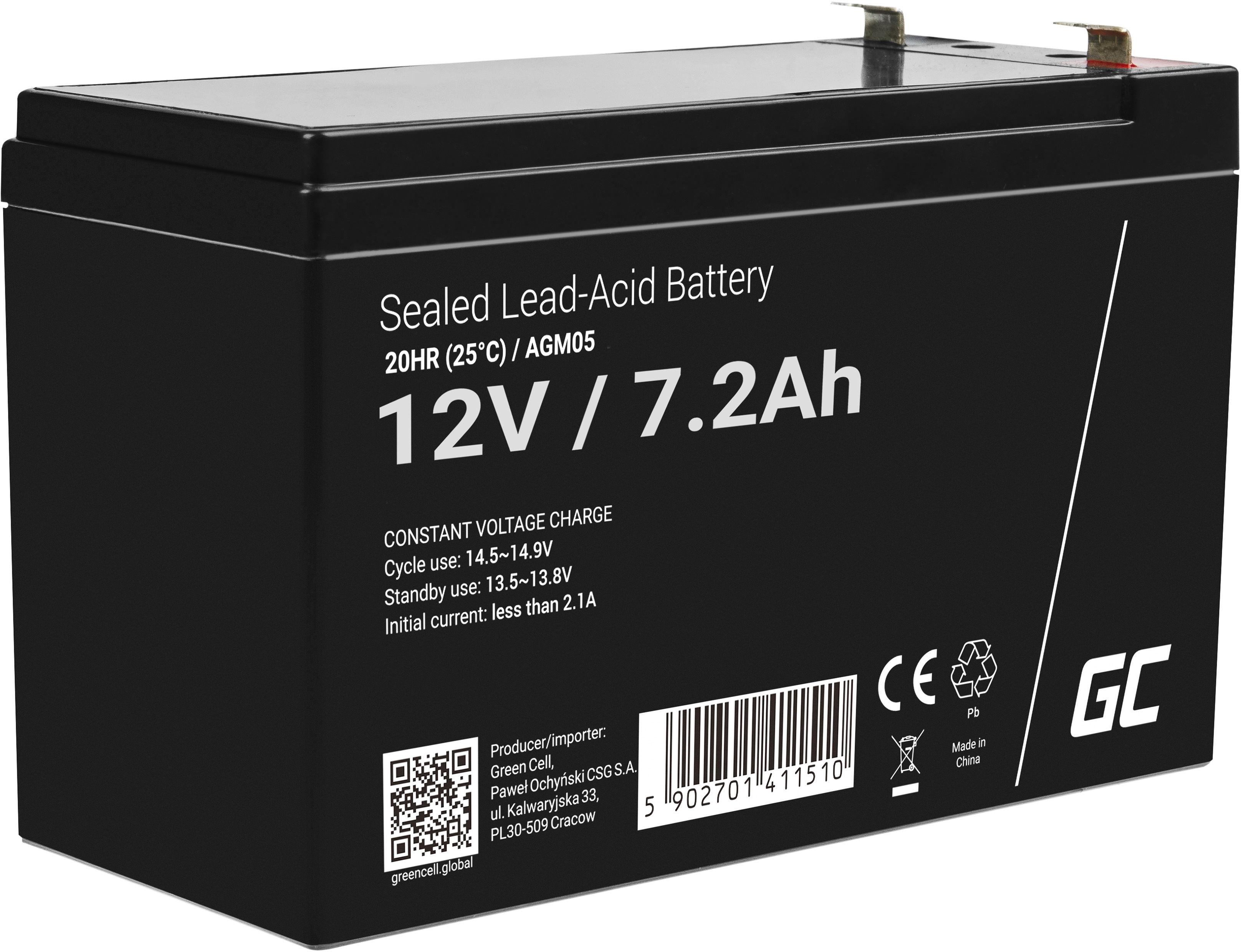Akumulator bezobsługowy AGM VRLA Green Cell 12V 7.2Ah do systemów alarmowych i zabawek