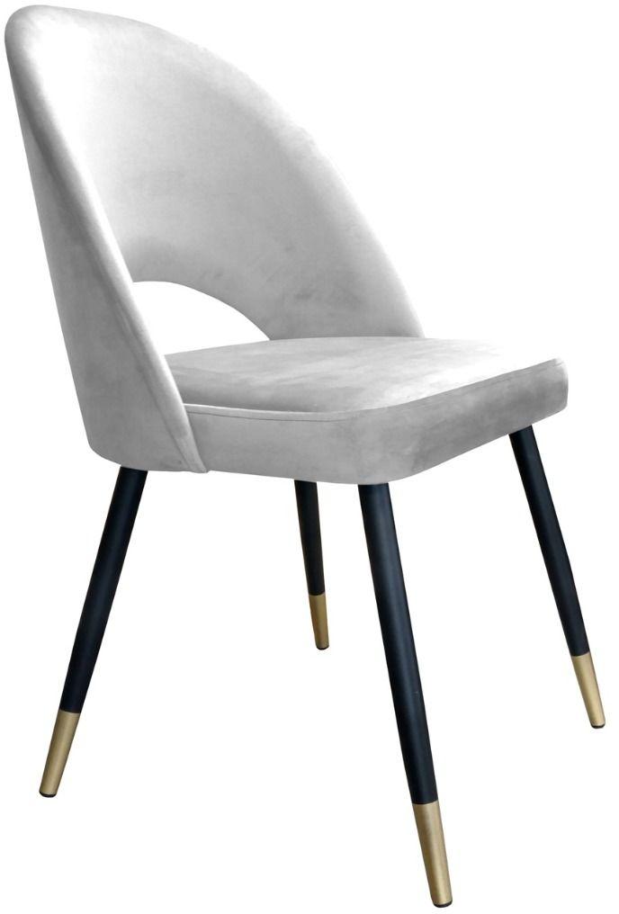 Krzesło ISKAR VELVET GOLD jasno szare