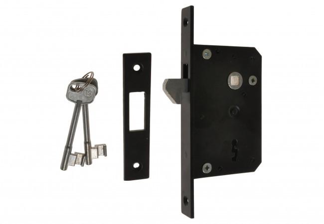 Zamek wpuszczany HAKOWY 56/45 klucz lakier czarny