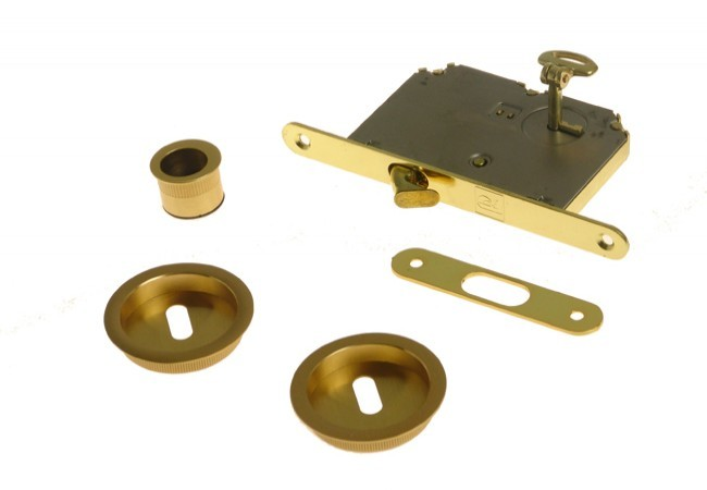Zamek do drzwi przesuwnych + uchwyty okrągłe z kluczykiem łamanym złoty matowy