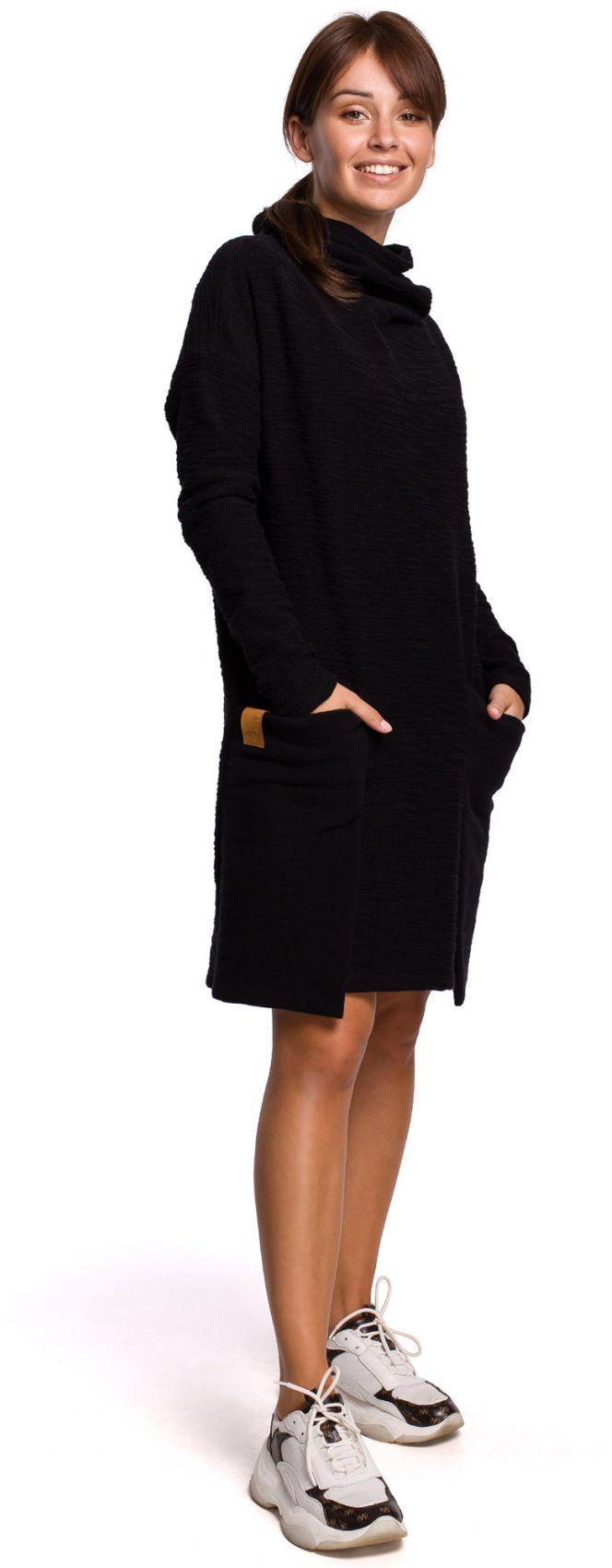 B177 Sukienka z kieszeniami naszywanymi - czarna