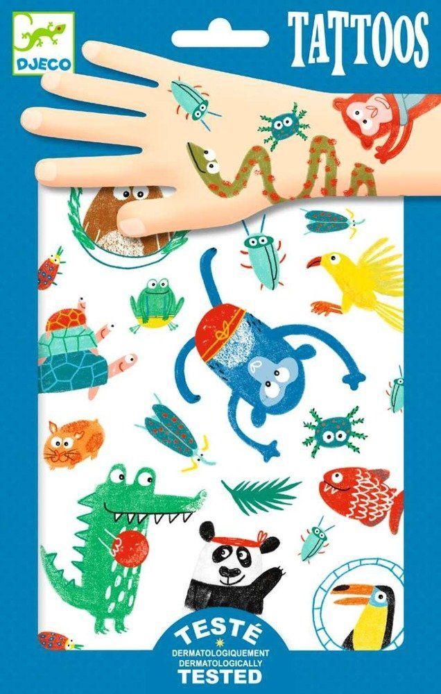 Tatuaże dla dzieci Kolorowe zoo małych zwierząt, DJ09576-Djeco, tatuaże