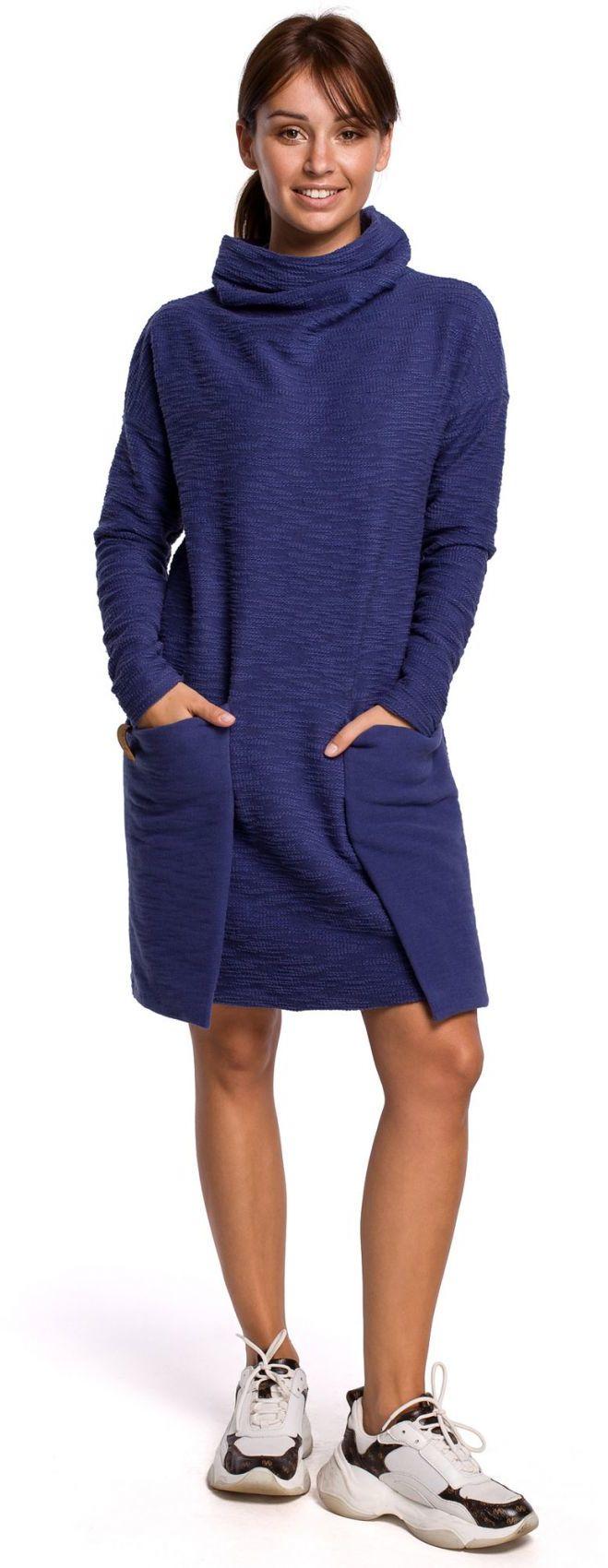 B177 Sukienka z kieszeniami naszywanymi - indygo