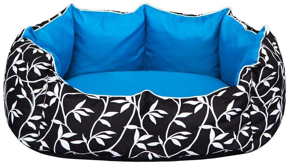 Hobbydog M NYRLZN3 Dog Bed New York M 50 x 40 cm Leafs & Blue Center, M, Blue, 1 kg
