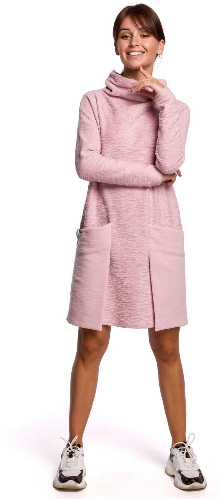 B177 Sukienka z kieszeniami naszywanymi - pudrowa