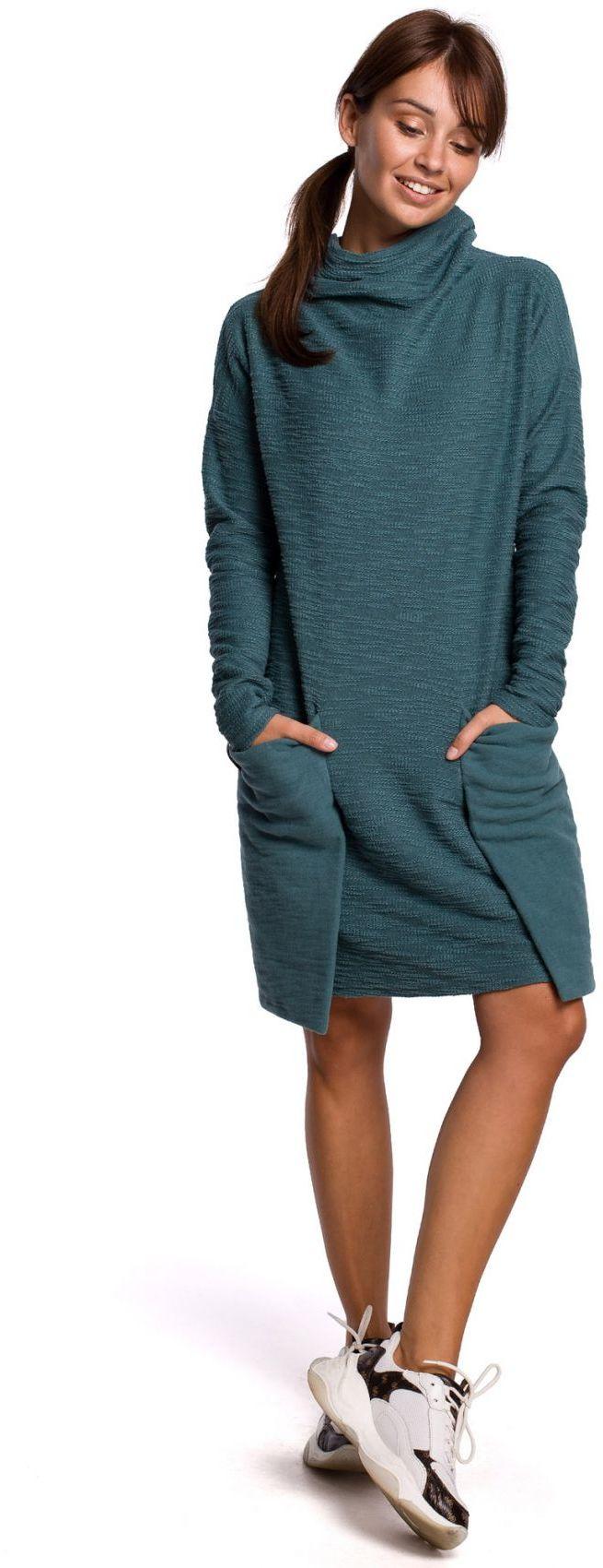 B177 Sukienka z kieszeniami naszywanymi - turkusowa