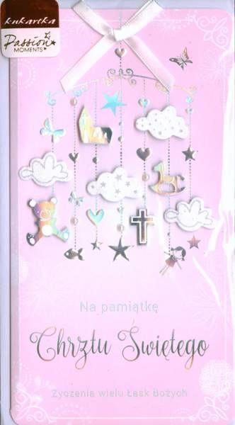 Pamiątka Chrztu Świętego Kartka różowa PM-080 - Passion Cards