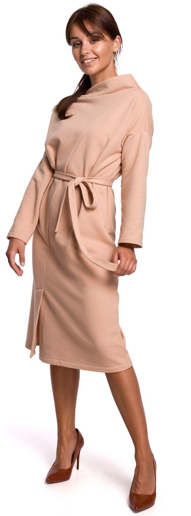 B178 Sukienka z dekoltem asymetrycznym i paskiem - beżowa