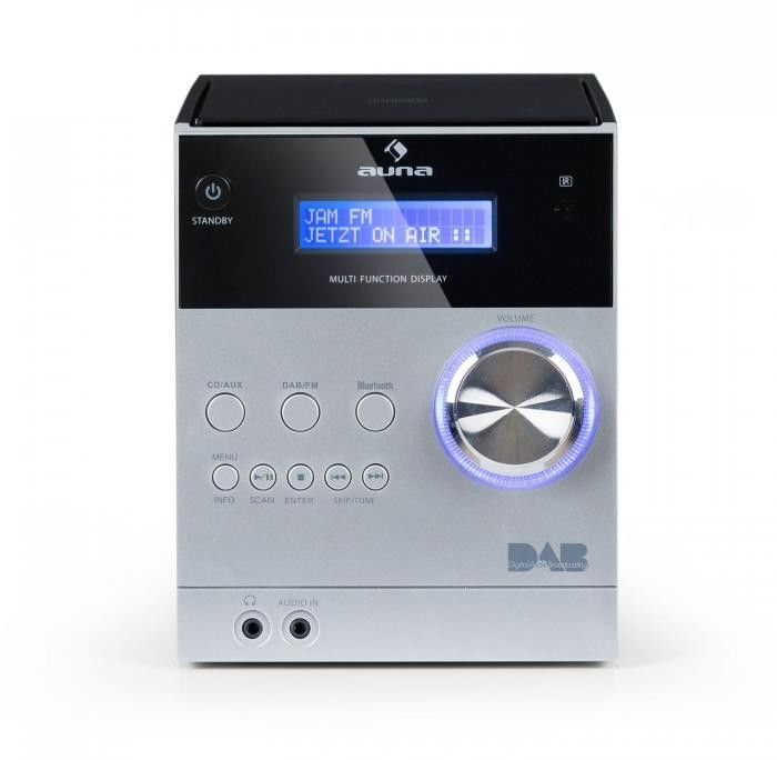 Auna MC-20 Mikrowieża stereo DAB+ Bluetooth pilot srebrna