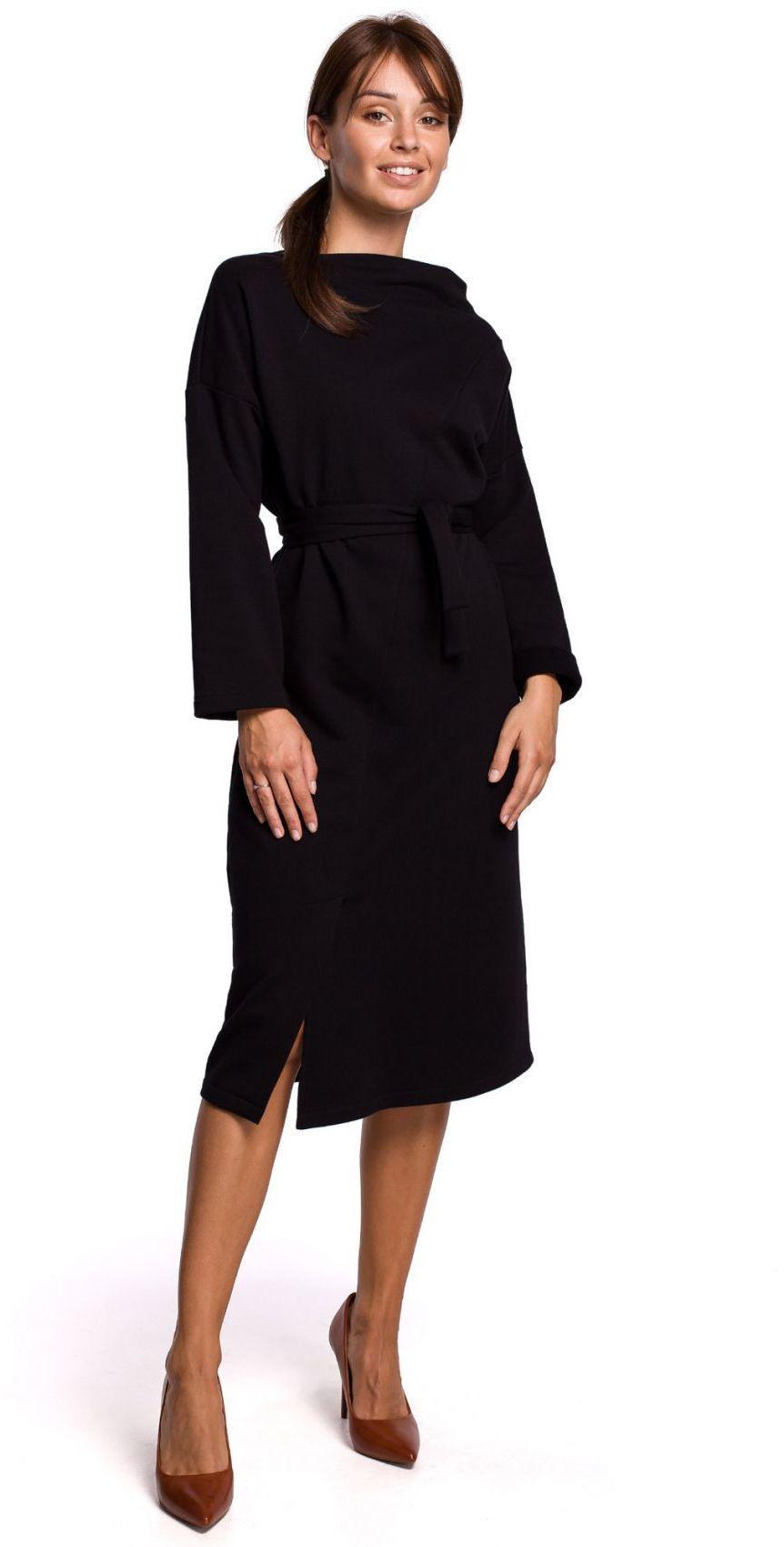 B178 Sukienka z dekoltem asymetrycznym i paskiem - czarna
