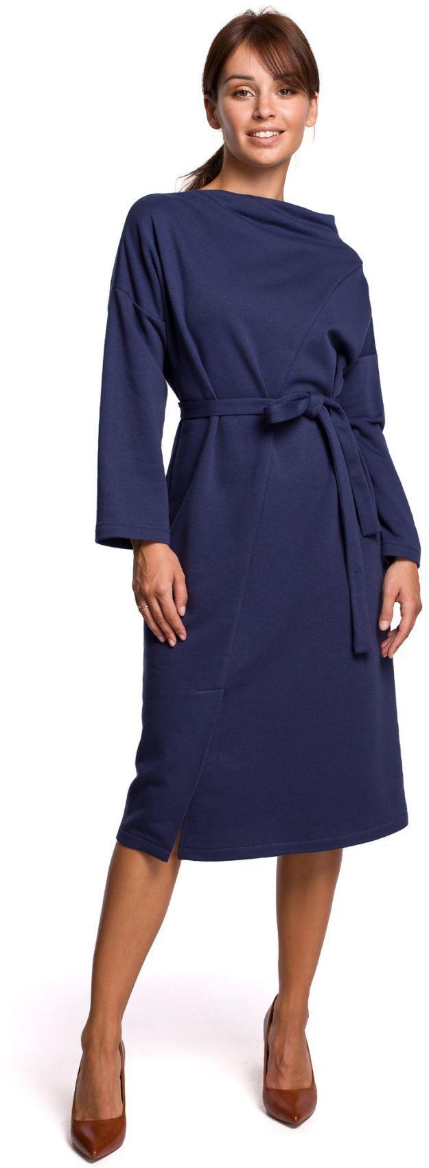 B178 Sukienka z dekoltem asymetrycznym i paskiem - niebieska