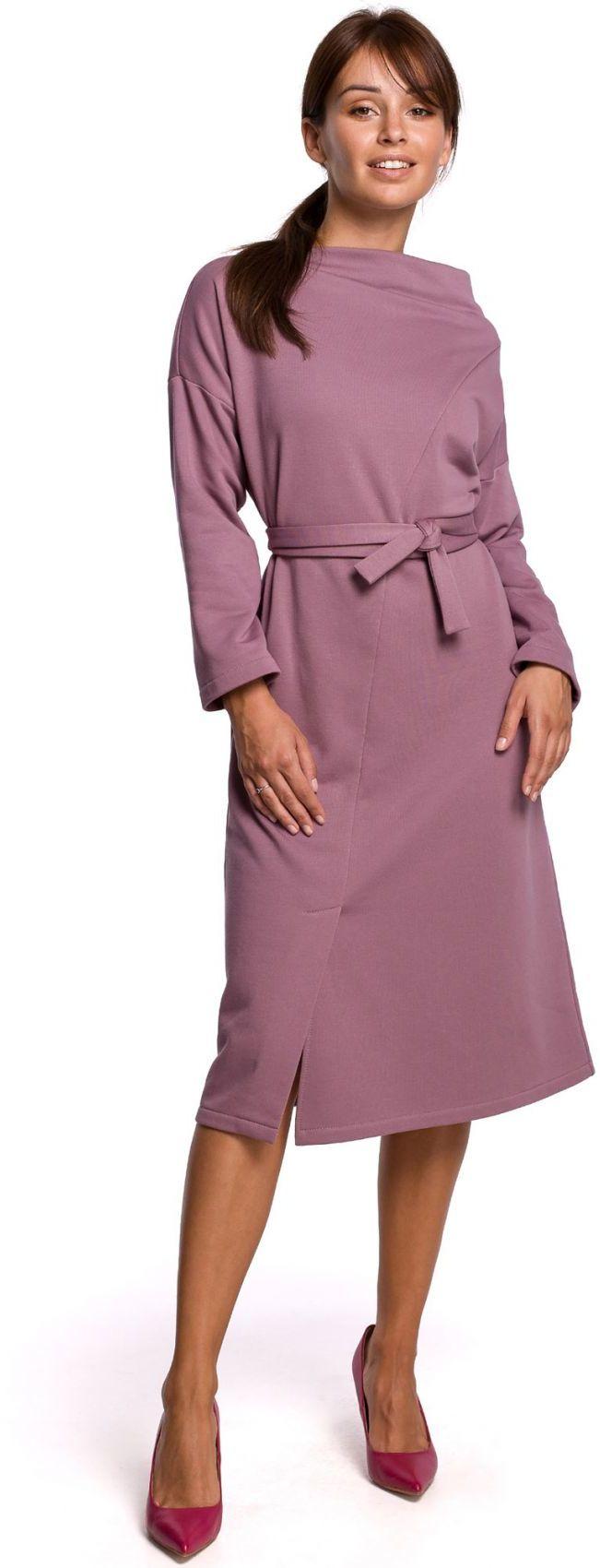 B178 Sukienka z dekoltem asymetrycznym i paskiem - wrzosowa