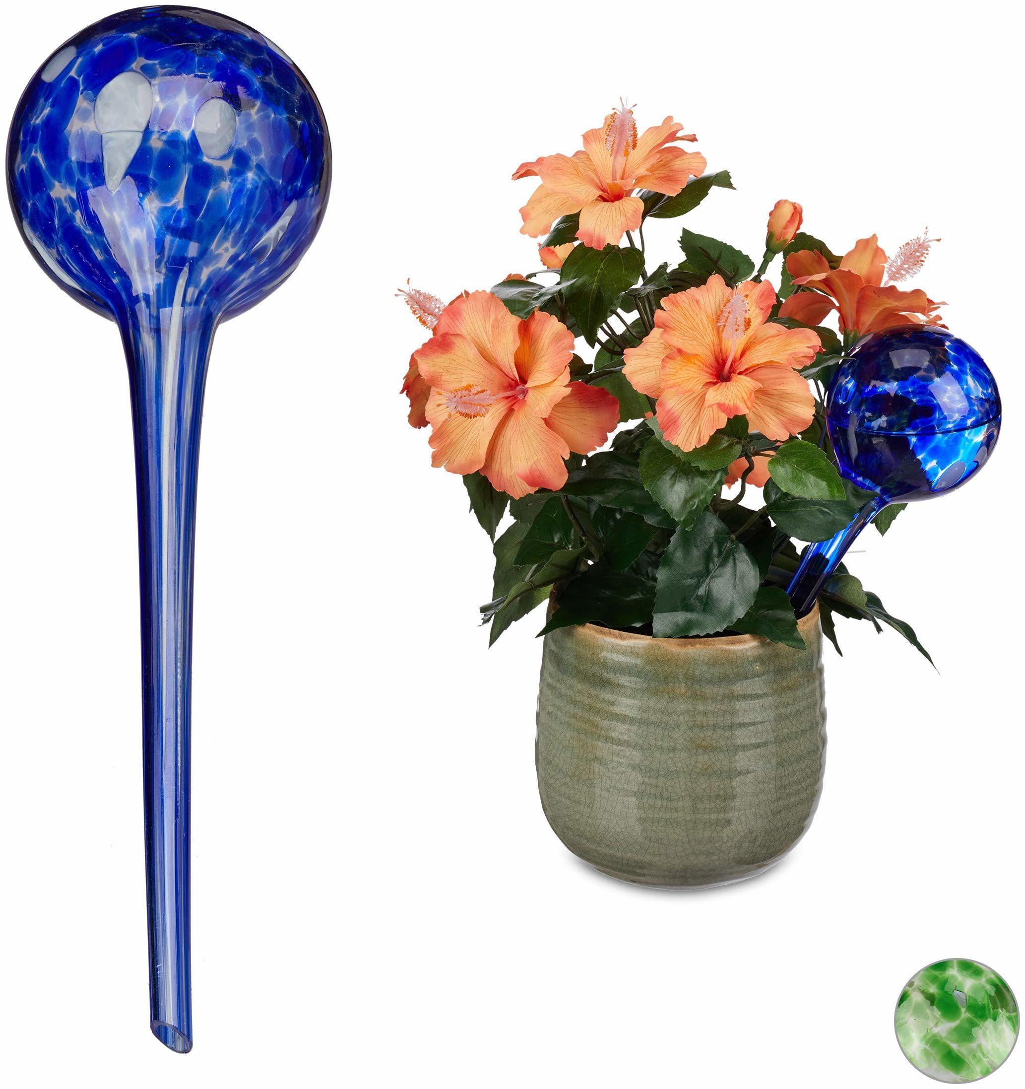 Relaxdays kule do nawadniania, regulowane nawadnianie roślin do biura i na święta, szkło, Ø9 cm, niebieski, zestaw 2 szt.