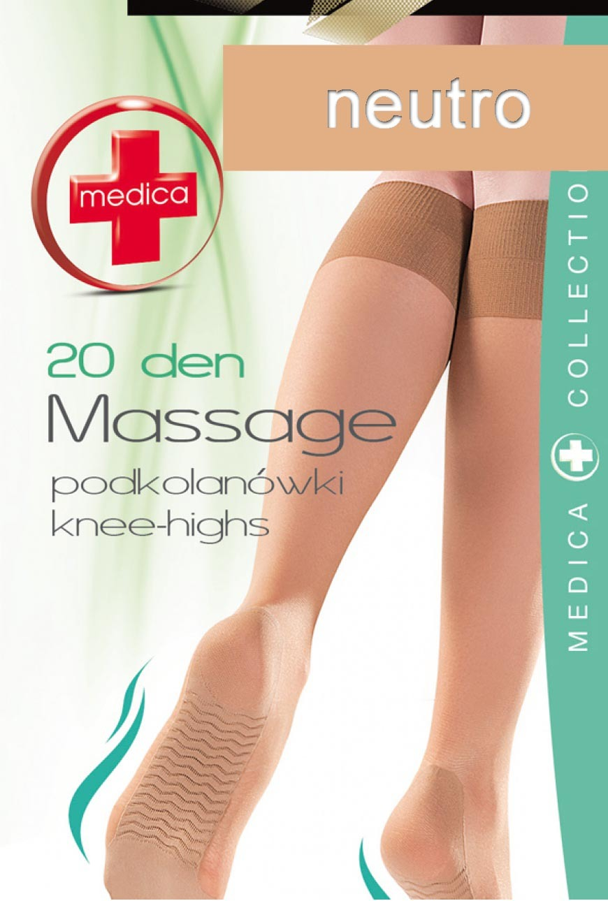 Podkolanówki (20den) Massage z masażem stóp