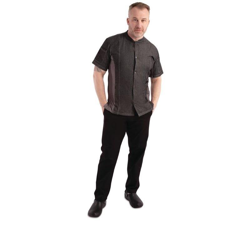 Koszula kucharska Tribeca krótki rękaw zatrzaski czarny denim rozmiary XS-XL