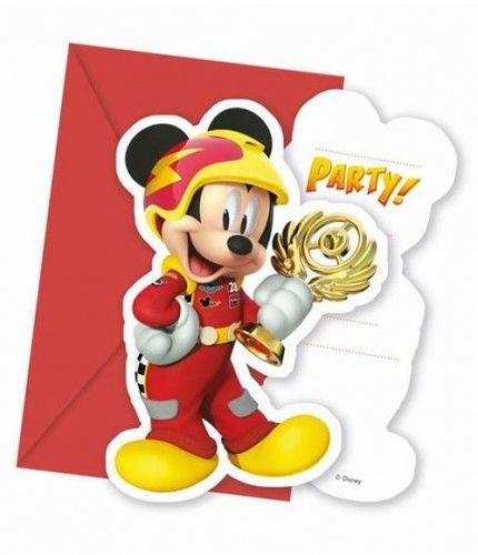 """Zaproszenia """"Mickey Mouse Roadster Racers"""" 6 szt."""