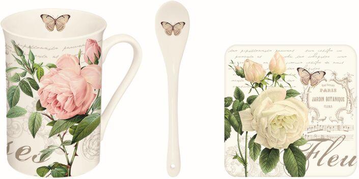Easy Lifen/R2S, kubek z łyżeczką i podkładką - Jardin Botanique, róże