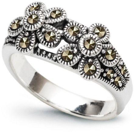 Staviori pierścionek. markazyty. srebro rodowane 0,925. szerokość 8,8 mm. wysokość 5,3 mm