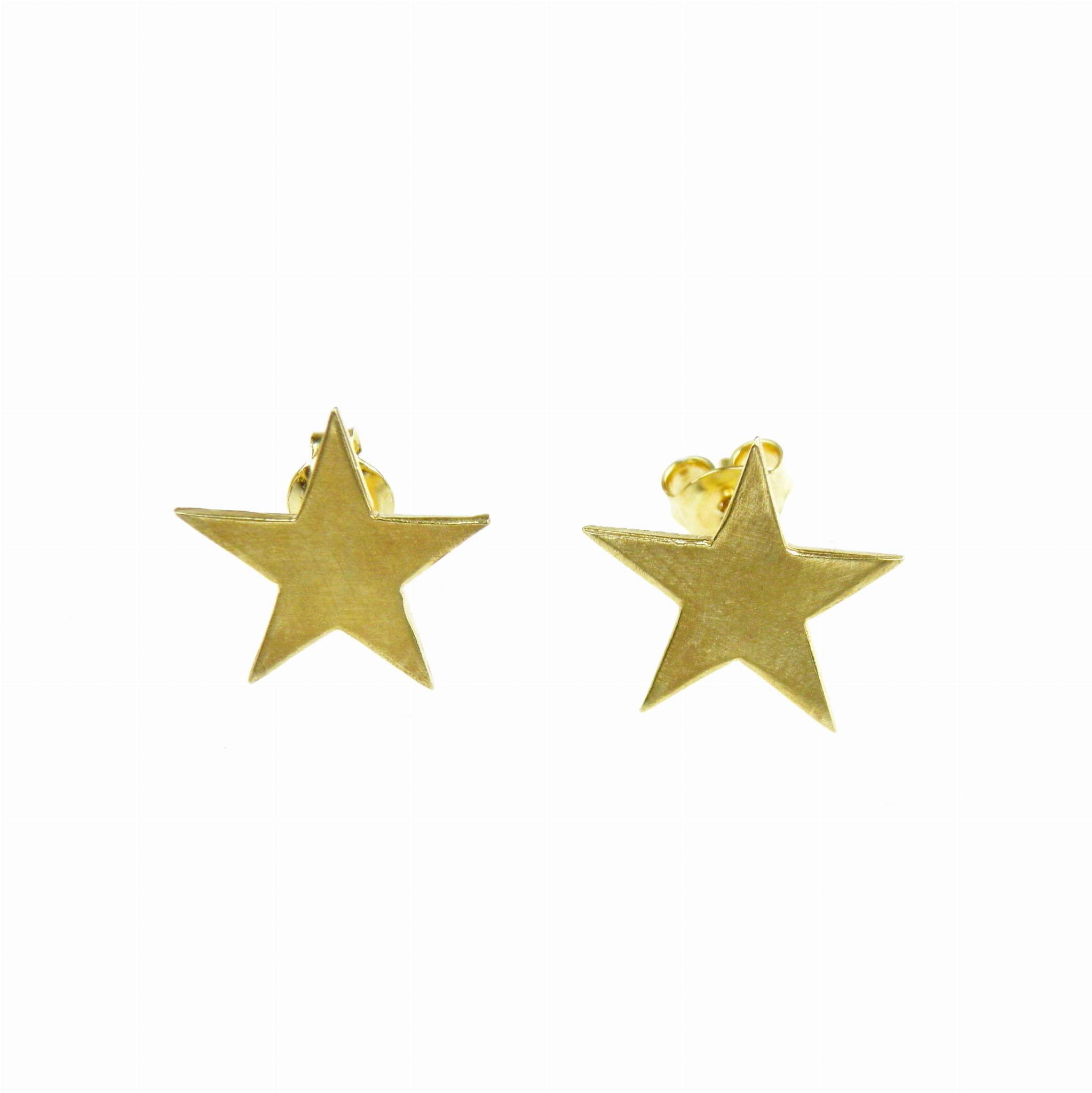 Gwiazdki mini - kolczyki srebrne pozłocone na sztyftach