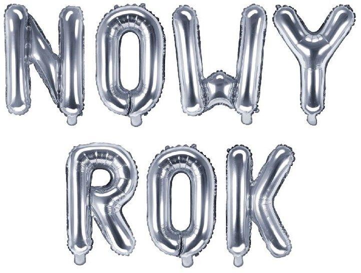 Balony foliowe NOWY ROK srebrne 35cm FB2M-NOWYROK-018