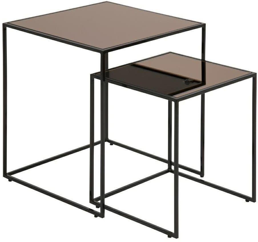 Zestaw szklanych stolików BOLTON czarny-brązowy