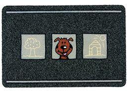 ASTRA 0455015178 Premium wycieraczka z włókna rypsowego, kolor flocky Color do drzwi, polipropylen, dla psów, szara/antracyt, 40 x 60 x 0,8 cm