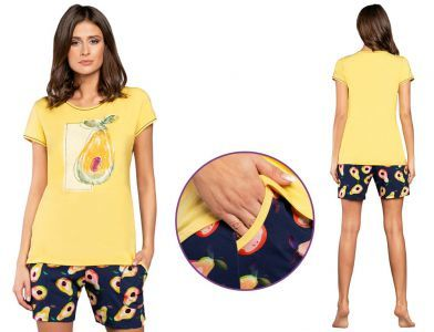 Piżama damska AVOCADO: żółty/granat