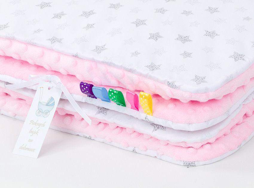 MAMO-TATO Kocyk Minky dla niemowląt i dzieci 75x100 Gwiazdki bąbelkowe szare / jasny róż