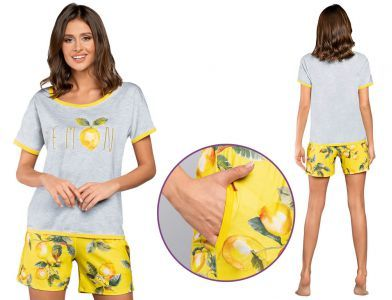 Piżama damska LEMON: szary/żółty