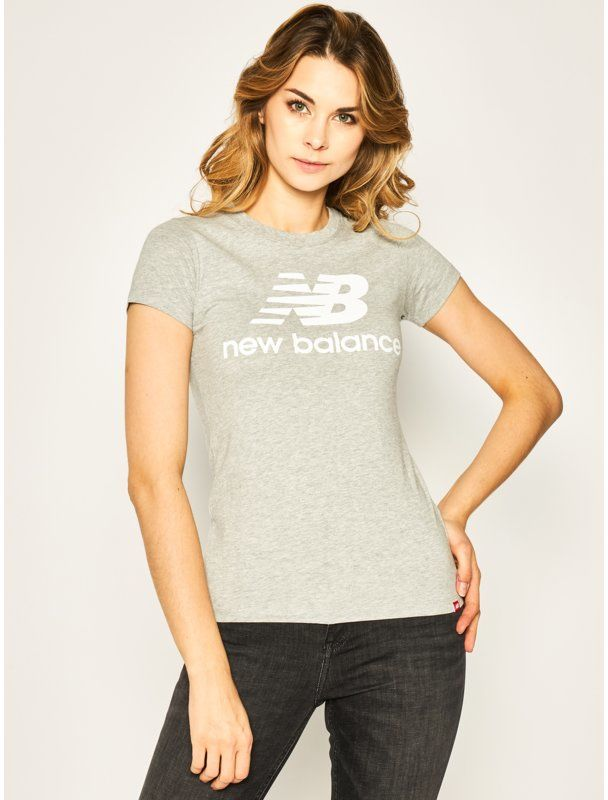 New Balance T-Shirt Essentials Stacked Logo Tee WT91546 Szary Athletic Fit