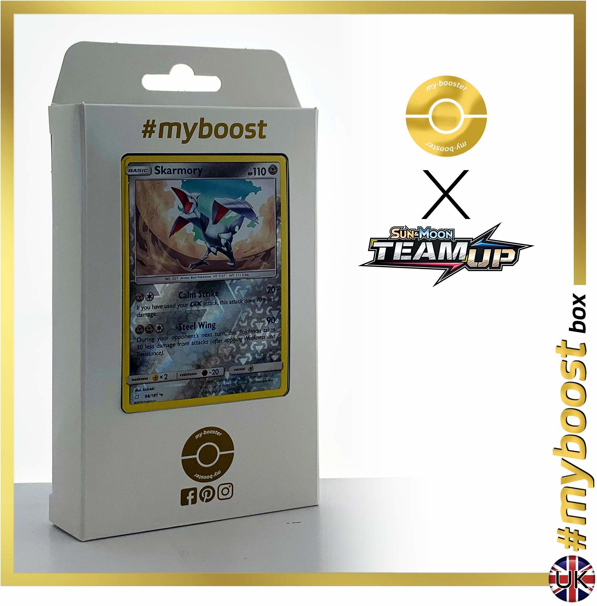 Skarmory 98/181 Holo Reverse - #myboost X Sun & Moon 9 Team Up - pudełko 10 angielskich kart Pokemon